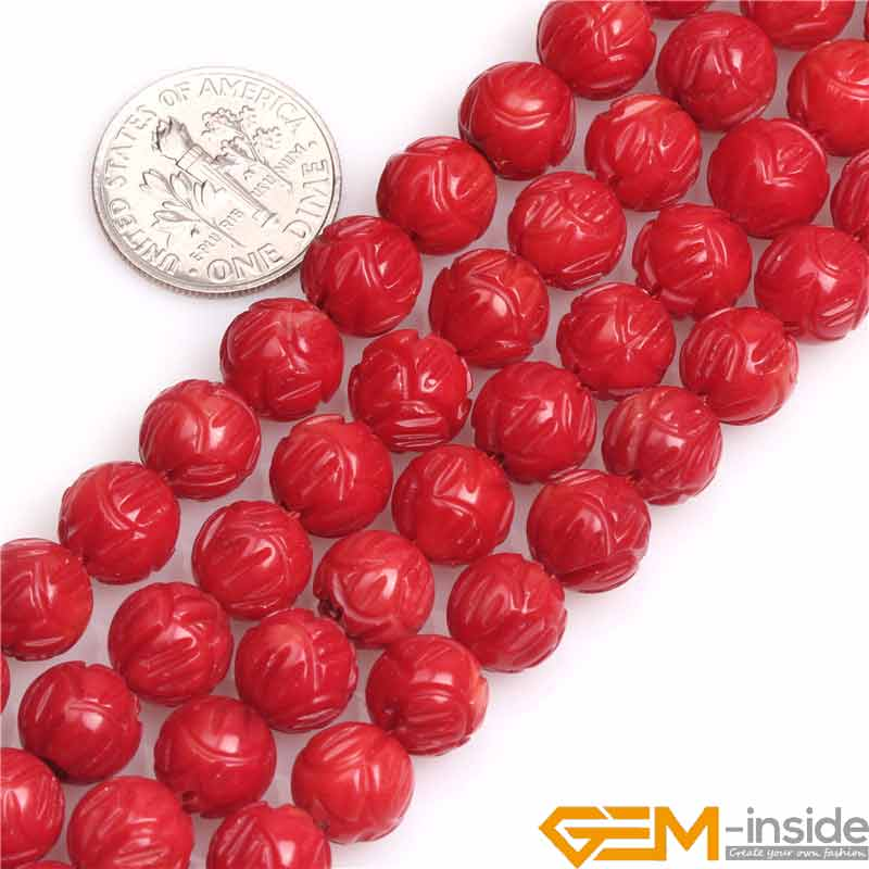 8mm Carved Lotus Flower Coral Round Buddha Beads DIY Loose Bead For Jewelry Making Wholesale diy round frame carved flower pattern carbon steel cutting die