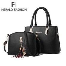 Herald Fashion Women Handbag Leather Shoulder Bags 2 sets Ladies  Messenger Casual Tote sac a main