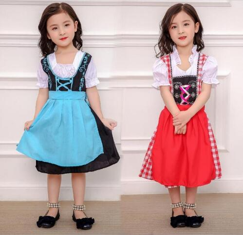 4d0558fc1 S-XL Children Girls Children Oktoberfest Costume German Heidi Dirndl  Bavarian Fantasia Fancy Dress Halloween Beer Maid Uniform