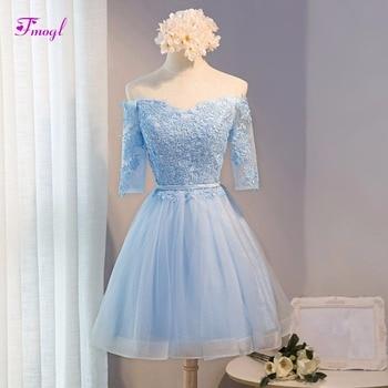 Fmogl New Design Sweetheart Appliques Half Sleeve Short Prom Dress 2019 Elegant Sashes Blue Graduation Dress Vestido de Festa
