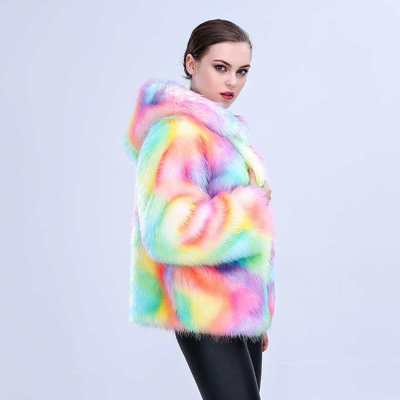 Capuche Multicolore Coloré Artificielle Nouvelles 2018 Avec Multi De Renard Femmes Manteaux Femelle Veste Mince Faux D'hiver Manteau Fourrure wvqxxCptPf
