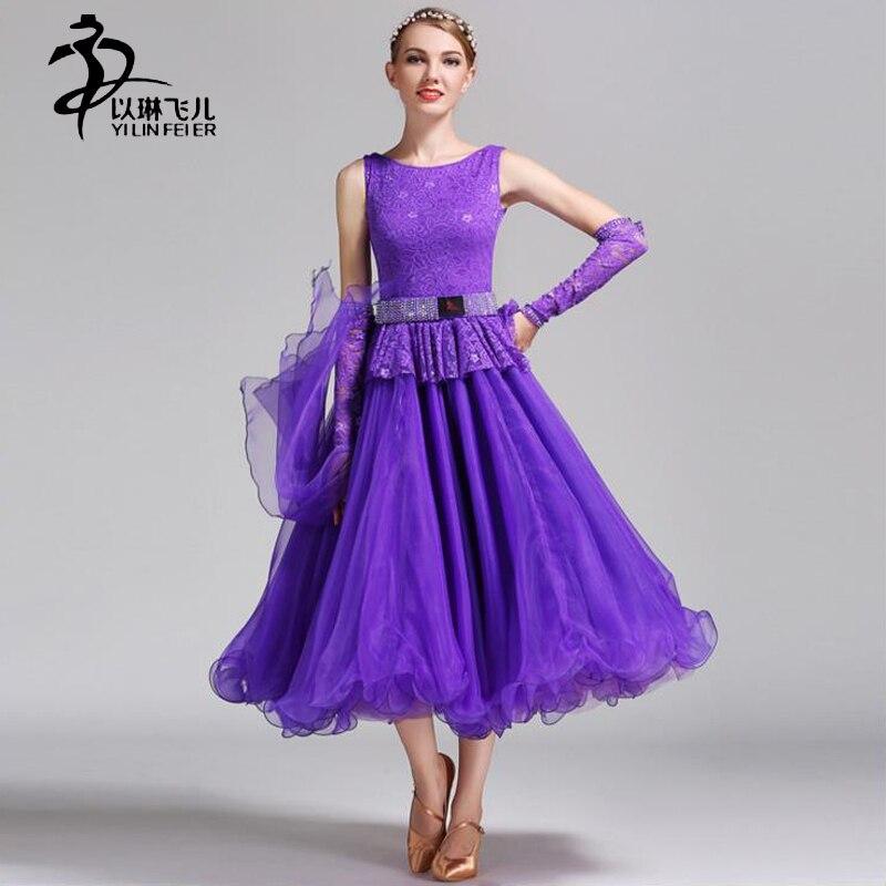 Encaje mujeres elegantes Latino danza trajes diamante vals estándar ...