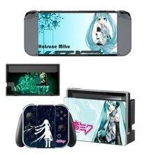 Anime Cute Girl Miku Decal Vinyl Skin Sticker for Nintendo Switch NS Console + Joy-Con Controller + Dock Station