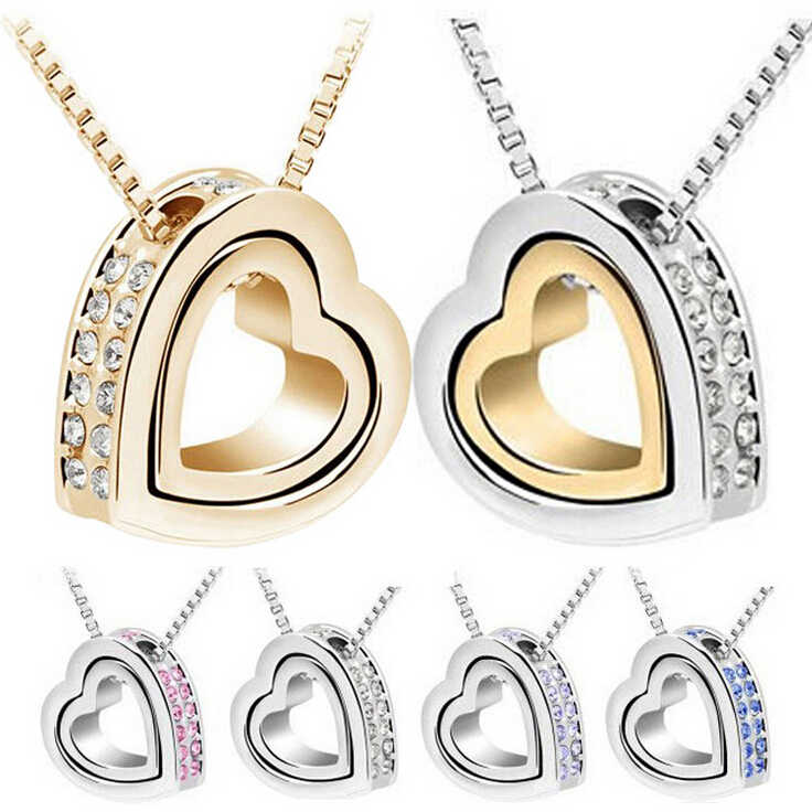 Anenjery Unique Lovers Necklace For Women Double Heart Micro Crystal CZ Necklaces & Pendants collares T-N27