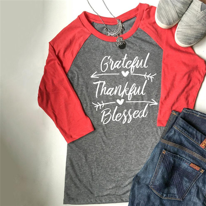 2017 Autumn Fashion Women Grateful Thankful Blessed Baseball Tees O-neck Three Quarter Sleeve Female Gray Top Quality First Blouses & Shirts