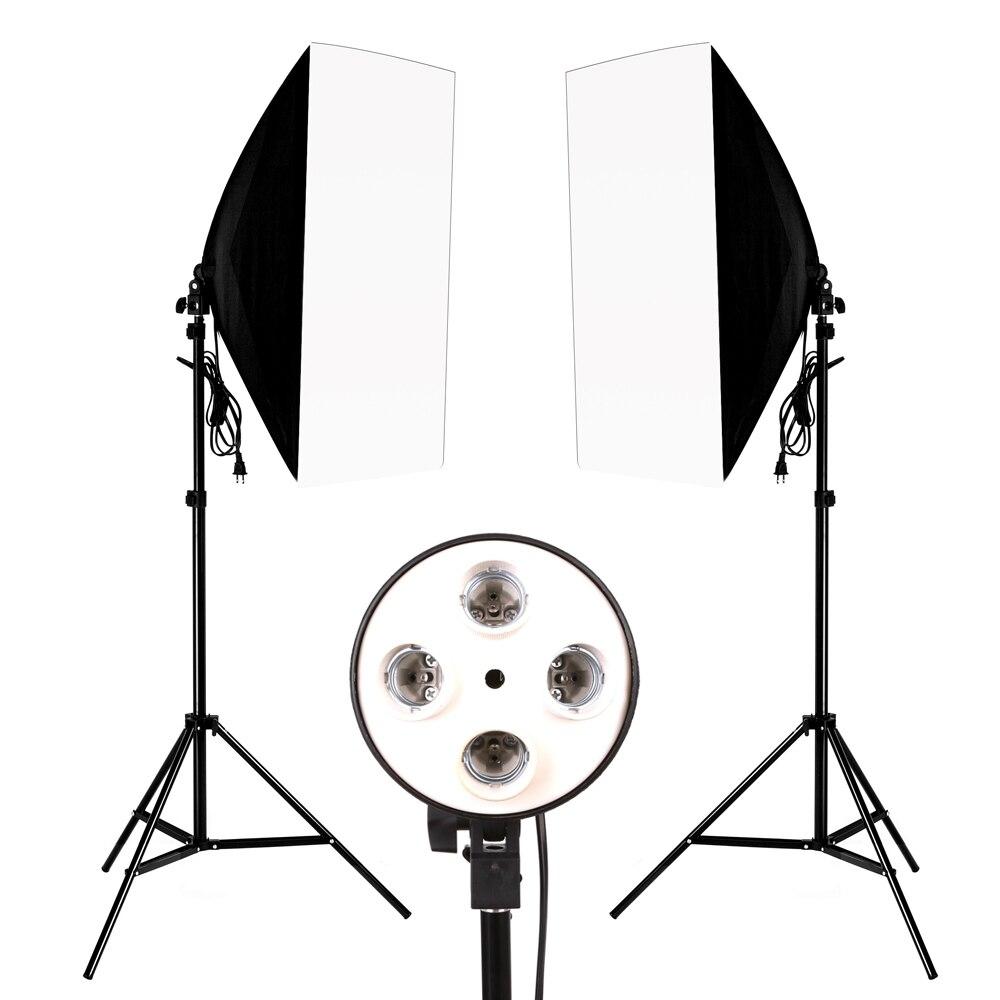 Photography Photo Studio Lighting Kit 2PCS*4 Socket Lamp Holder +2PCS* 50*70CM Softbox +2PCS*2m Light Stand Photo Soft Box photo studio kit photography lighting 2pcs 4 socket lamp holder 2pcs 50 70cm softbox 2pcs 2m light stand photo soft box