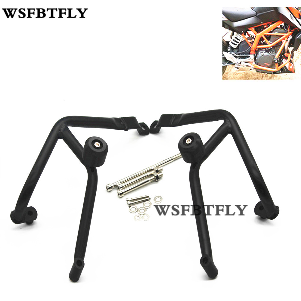 Black Motorcycle Crash Bars Frame Protector Protection Guard For KTM Duke 390