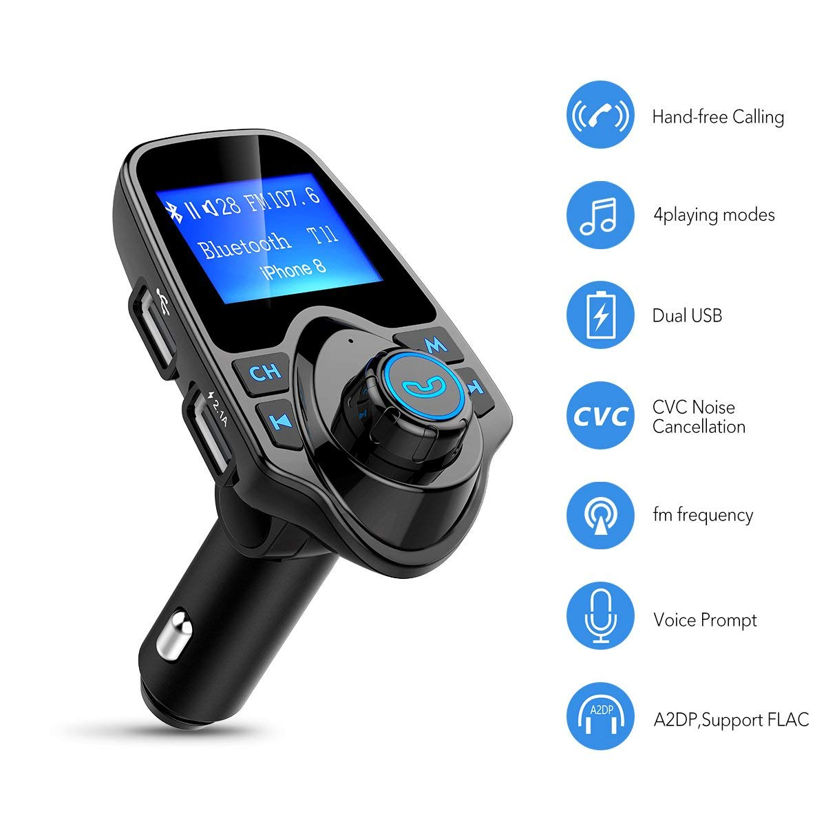 new styles 71d0c 83f11 US $18.04 5% OFF|Bluetooth FM Transmitter Wireless in Car Radio Receiver  Adapter, Handsfree Car Kit Music Player with 2 USB Ports AUX in/Out TF-in  FM ...