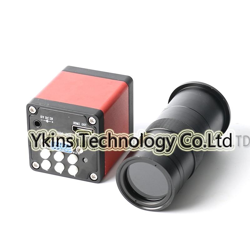 HD 720P 13MP 1/3 Digital Industry Video Microscope Camera HDMI VGA Output 60F/S Camera + 100X C Lens for Phone PCB Patch Repair