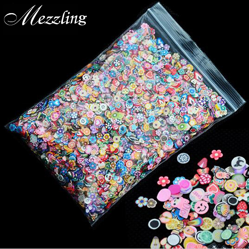 1pack 5mm Polymer Clay 3d Nail Art Decoration Mix Flowers Feather Fruit Fimo Cane For DIY Acrylic Nail Phone Supplies professional 1000pcs lot fimo clay 3 series fruit flowers animals diy 3d nail art decorations nails art sticker design