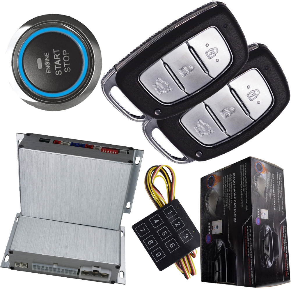 auto passive keyless entry car alarm system with push button start stop engine remote start stop engine smart key switching auto car alarm remote engine start stop push button start stop passive keyless entry password emergency lock and unlock