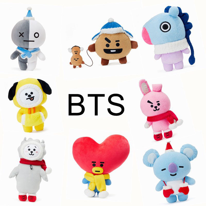 Kpop BTS BT21 Christmas Plush Toy Doll Figure Bangtan Boys Stuffed Plushie Cute Standing Doll Xmas Gift HIT RJ TATA COOKY CHIMMY
