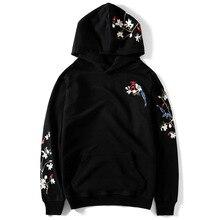 Erkekler nakış kapşonlu Hoodie çiçek kuş çin gevşek rahat Hoodies kazak Harajuku büyük boy çift tişörtü Streetwear