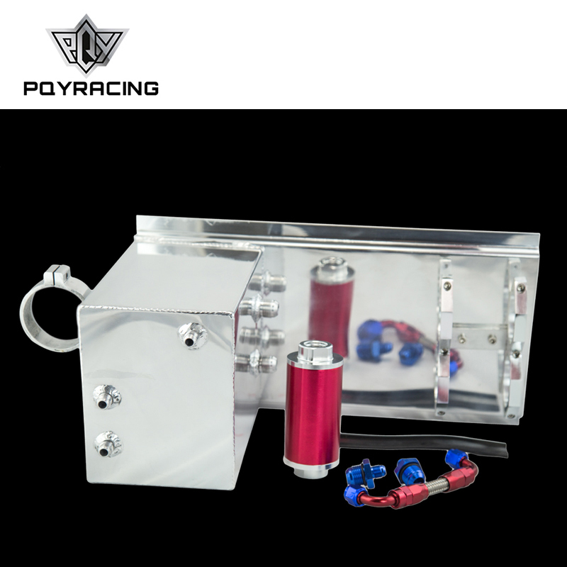 PQY - 5L Aluminum fuel surge tank/fuel tank/fuel cell 5L polished AN fittings + pump mount + filter + hose PQY-TK45 lzone racing black aluminium fuel surge tank with cap foam inside fuel cell 40l without sensor jr tk21bk