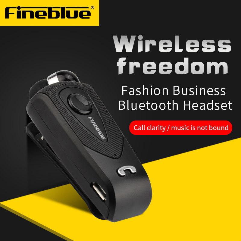 FineBlue Original  F930 Retractable Wireless Bluetooth Earphones Handsfree Headset Stereo Headphone Clip Mic Phone Call Portable handsfree call metal earphones with mic