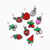 Wholesale 100PCs Lot Enamel Fruit Jewelry DIY Charms Cute Watermelon Cherry Strawberry Oil Drop Pendant Charms