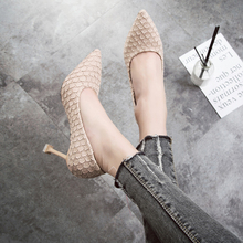 2019 new spring thin high-heeled shoes with wild tip Korean snake pattern shallow mouth women tide.