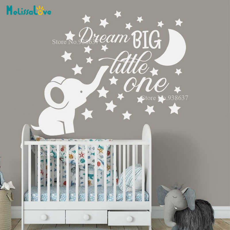 Cartoon Dream Big Little One Vinyl Quotes Wall Sticker Decor For Baby Room