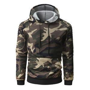 debb5df05ca23 2018 hot men s hoodie personality pleated raglan sleeves camouflage hooded  sweatshirt fashion casual men s hooded pullover