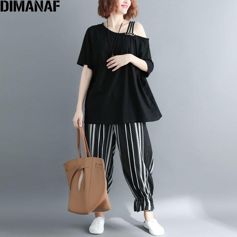 DIMANAF Women T-Shirt Sexy Summer Plus Size Sequined Cotton Off Shoulder Basic Tops Female Casual Loose Tees Big New tshirt 2018