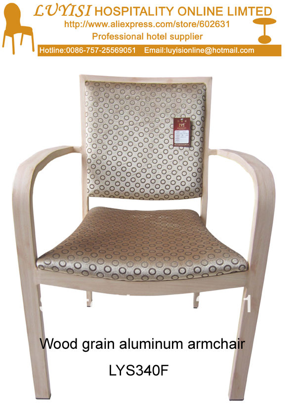Stackable Wood Imitation Aluminum Armchair,heavy Duty Fabric With High Rub Resistance,comfortable