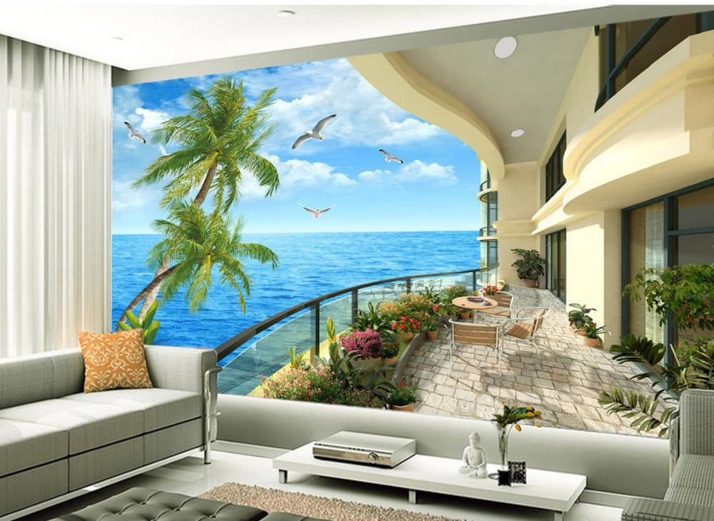 Balcony tv setting wall scenery 3d room wallpaper for 3d wallpaper for home singapore