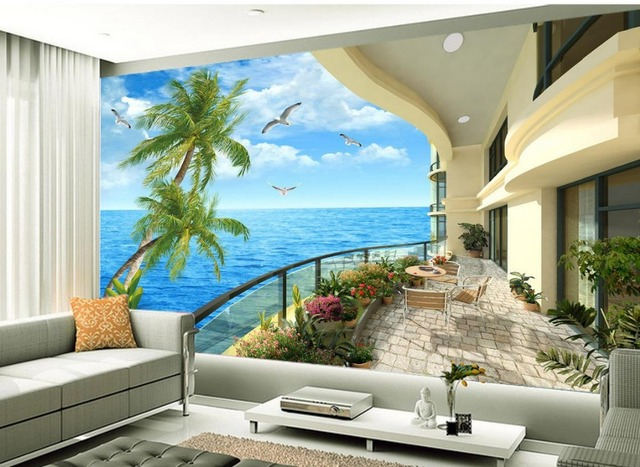 aliexpress : buy balcony tv setting wall scenery 3d room
