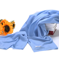 100 Cashmere Scarf Women Sky Blue Wrap Plain Gray Silver High Quality Natural Fabric Extra Soft