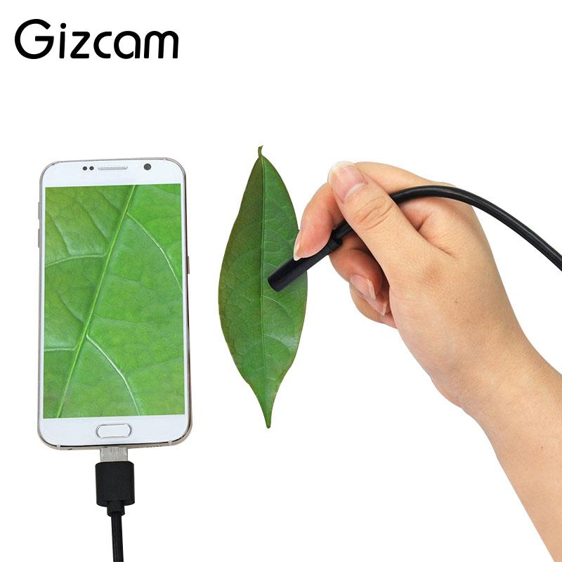 Gizcam Portable 2m 3 in 1 HD IP67 Waterproof 8mm Inspection Mini Micro Cameras Type C Android Endoscope For Android Phone PC