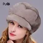HM021 vrouwen winter hoeden Echte Echte mink bontmuts winter vrouwen warm caps hele stuk mink fur hoeden