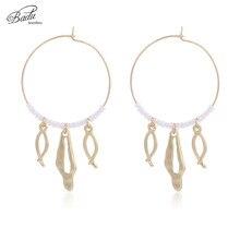 все цены на Badu Round Circle Hoop Earring Delicate Jewelry for Party Gift for Girls Hoop Earrings Women Fashion Wholesale онлайн