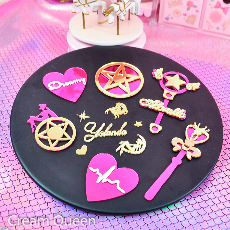 DIY Acrylic Mirror Beautiful Sailor Moon Stick Wishing Stick Creative Handmade Craft Supplies