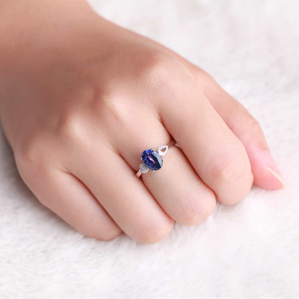 ZOCAI BRAND 1.4 CT TANZANITE with 0.05 CT DIAMOND WOMAN tanzanite ...