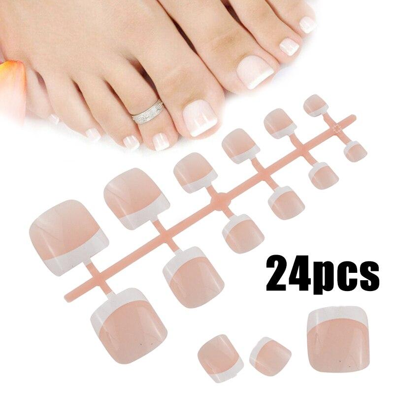 24pcs Smooth Fake False Nail Tips Full Cover Natural Toes Nail Manicure Tool Nail Tool For Foot