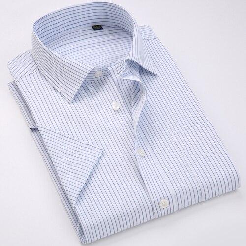 Men's Regular-fit Summer Short Sleeve Solid Classic Shirt Single Patch Pocket Formal Business Work Office Basic Dress Shirts 11