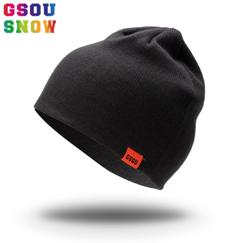 GSOU SNOW Brand Ski Hat Men Women Snowboarding Hats Autumn Winter Outdoor Cap Unisex Windproof Solid