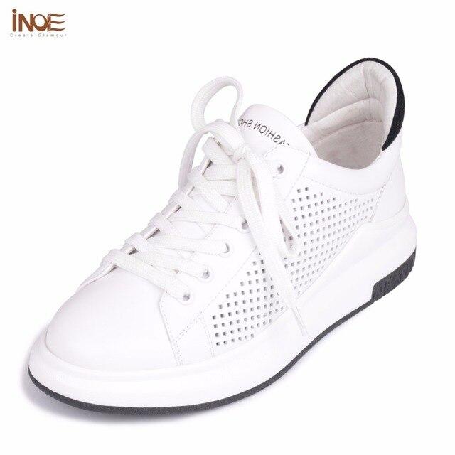 Inoe/2017 модный стиль из натуральной коровьей кожи женская повседневная Летняя обувь сетки кроссовки обувь для отдыха на шнуровке для девочек лоферы на плоской подошве белый