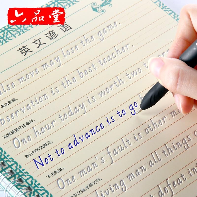 Liu Pin Tang 1pcs Italian Style Reusable English Groove Calligraphy Copybook Erasable Pen Learn Writing Adults Art Writing Books
