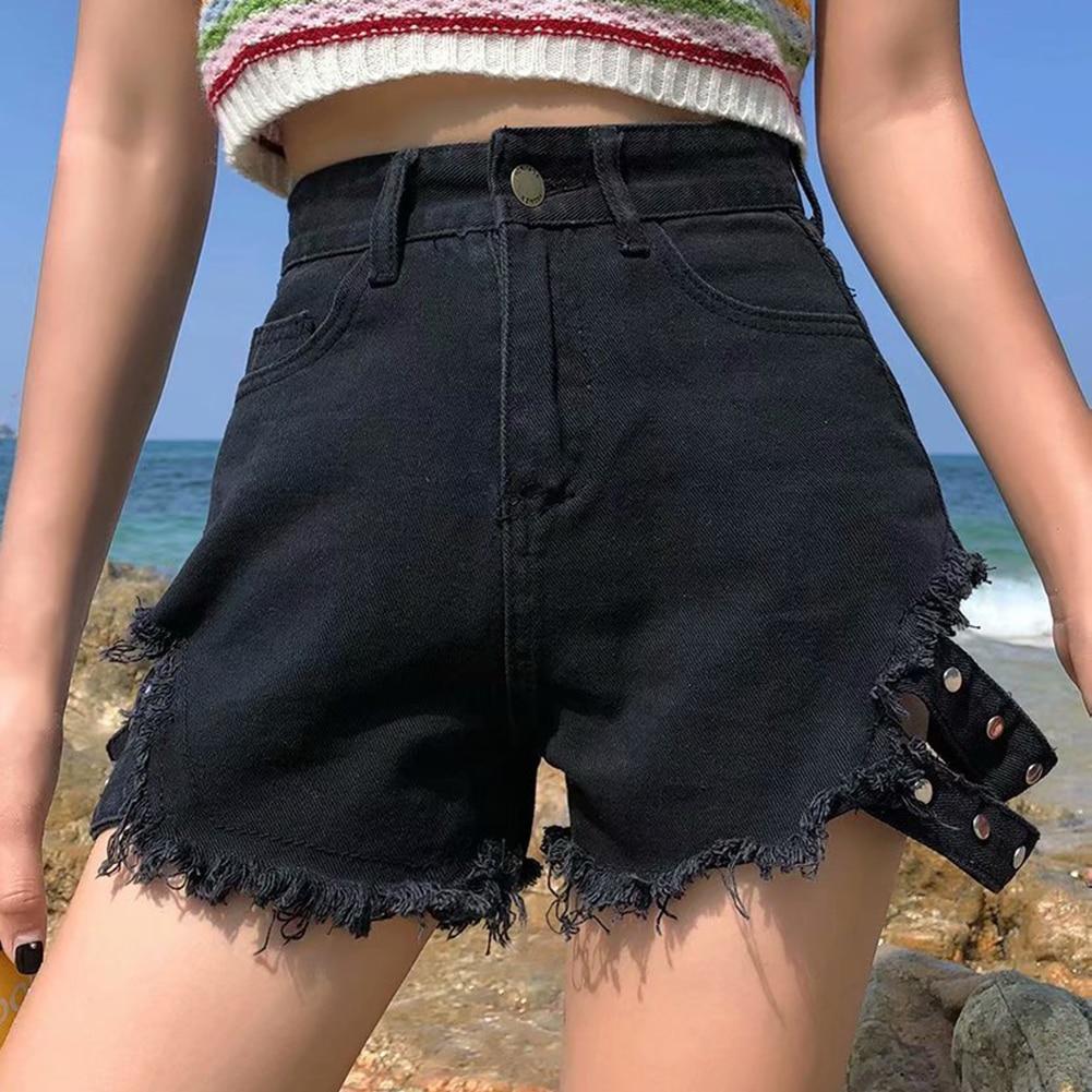 Women Cool Street High Waist Holes Denim Shorts Side Belt Stud Raw Hem Sporting Shorts Shorts Women Summer Fashion Shorts