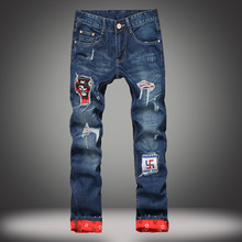 2017 new jeans male garment flanging straight hole trend of cultivate one's morality A pair of jeans