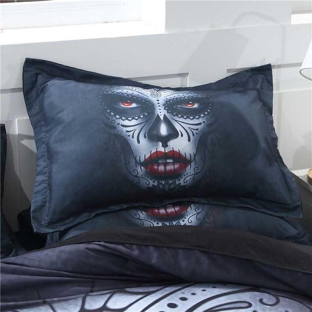 Black Sugar Skull Bedding Set