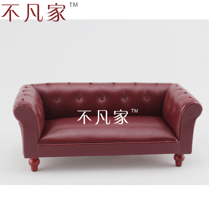 Deep Red Leather Sofas: Doll House Mini Furniture Dollhouse Miniature Deep Red