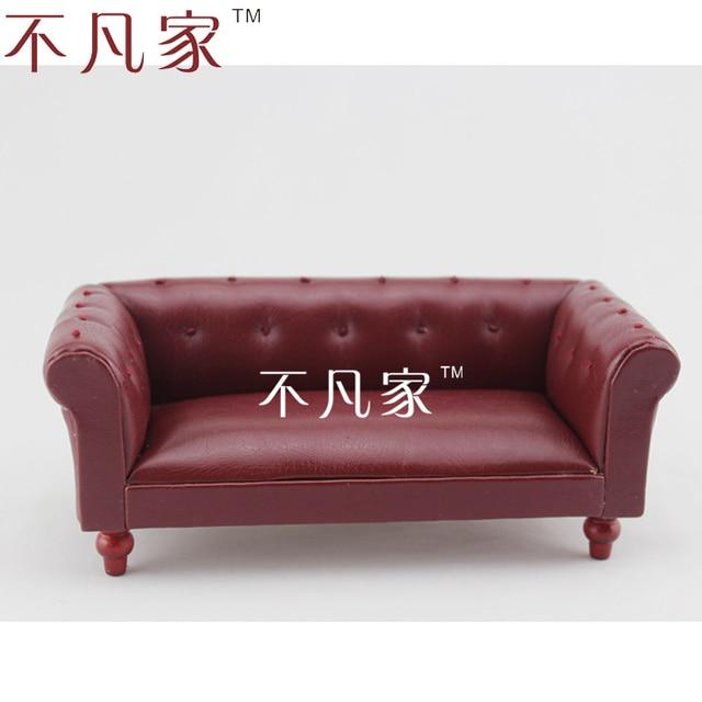 Doll House Mini Furniture Dollhouse Miniature Deep Red Leather Sofa