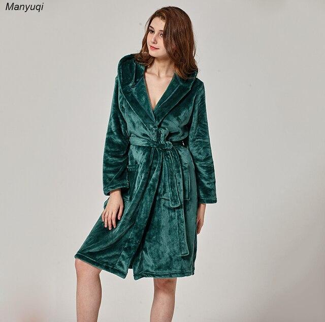 62bce582722d Winter women s bathrobe dark green mid length robe comfortable lounge home  flannel bathrobes femme whit hat