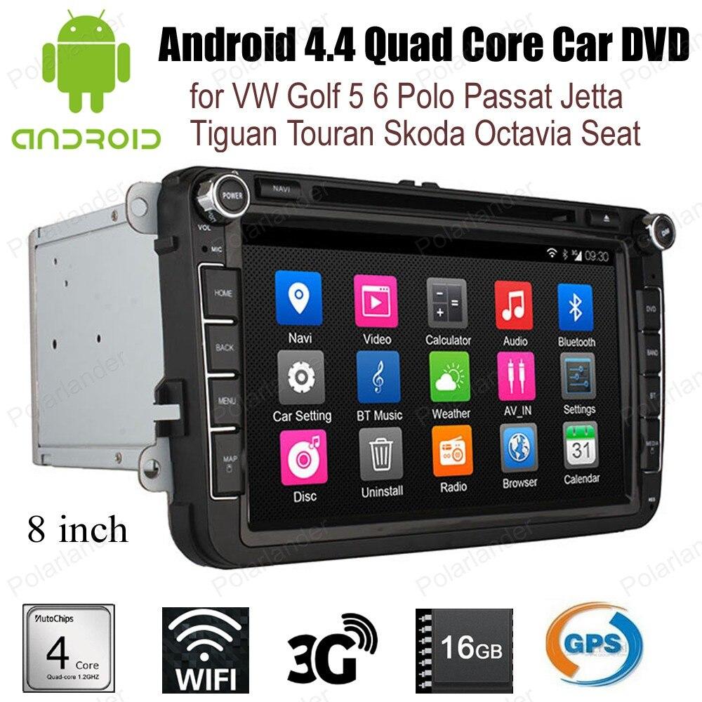 Autoradio Android4.4 pour VW Golf 5 6 Polo Passat Jetta Tiguan Touran Skoda Octavia siège wifi 3G BT GPS stéréo