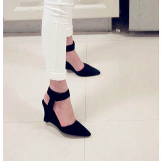 Women Pumps Sexy Pointed Toe Wedges High Heels Ankle Strap Hook & Loop Shoes for Woman Size34-39