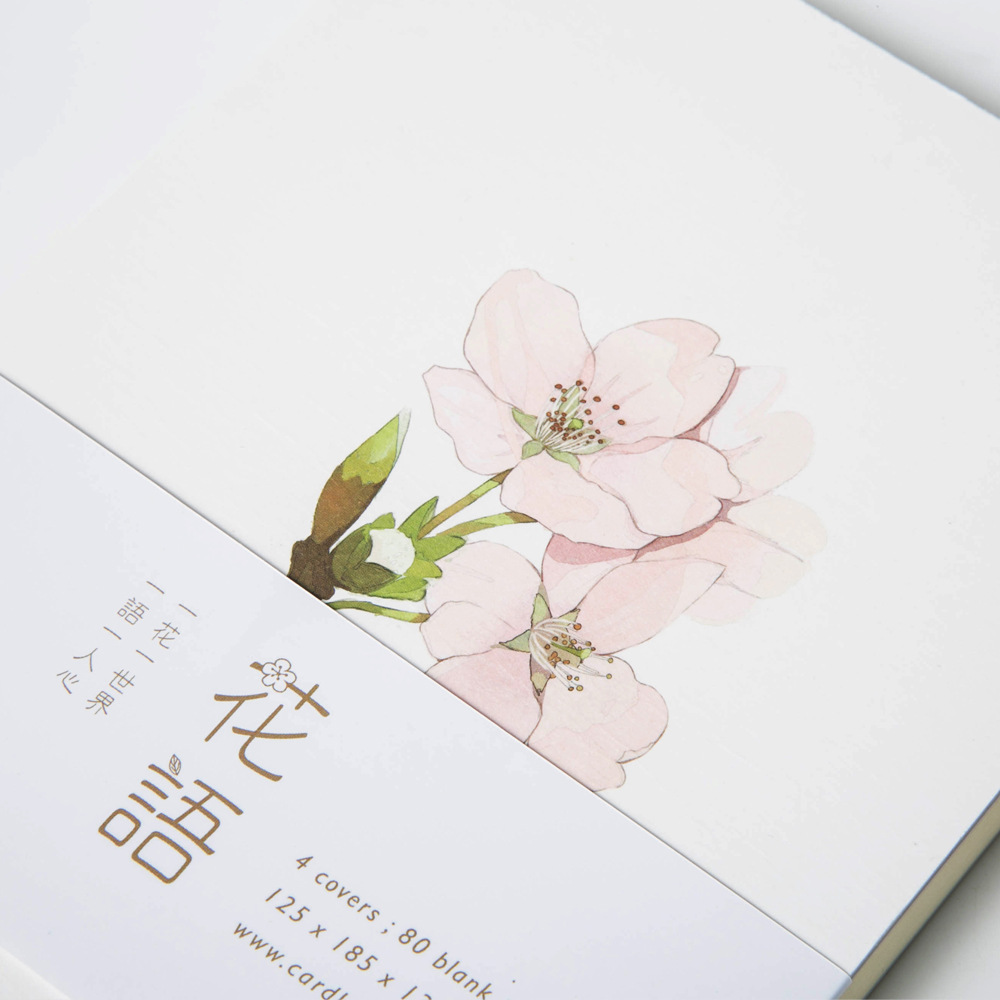 Note For Flower Japanese Sakura Equinox Flower White Rose Daisy Blank Page DIY Notebook Sketchbook Graffiti Book Agenda 140 page note paper creative fruit design
