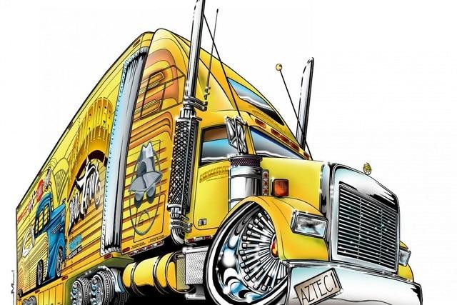 Perfect cartoon comic lowrider truck art drawing QX259 living room home  YF76