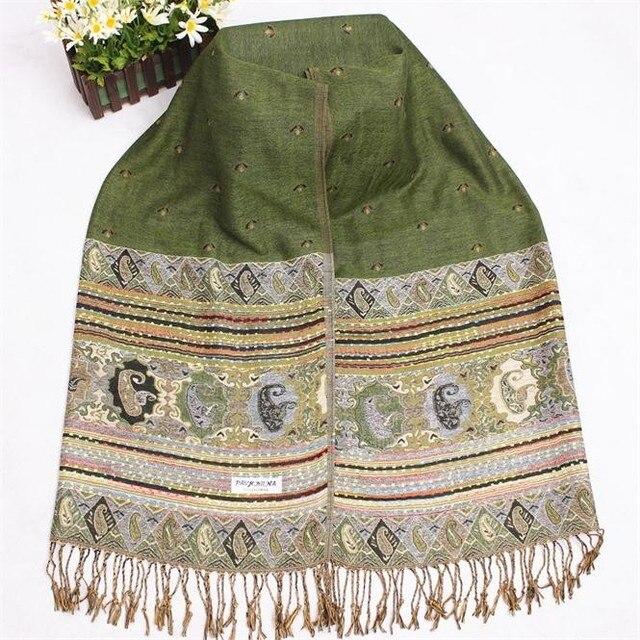 Зеленый Китайский Стиль Женщины Хлопок Смесей Wrap Vintage Пашмины Хиджаб Чал Весна Осень Горячие Продажа Шарфы Шаль Кисточкой Bufanda