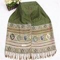 Mulheres Misturas de Algodão Envoltório Hijab Pashmina Do Vintage do Estilo Chinês verde Primavera Outono Venda Quente Cachecóis Xaile Tassel Bufanda Chal